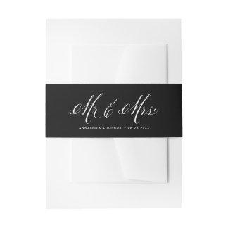 Sr. y señora negros y blancos Elegant Script Cintas Para Invitaciones