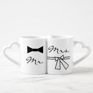 Sr. y señora pajarita y arco set de tazas de café