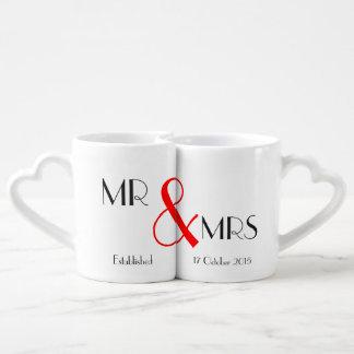 Sr. y señora regalo de boda set de tazas de café