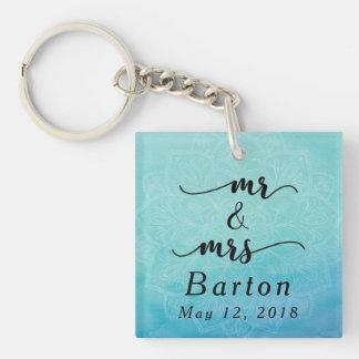 Sr. y señora Typography Teal y boda azul de la Llavero