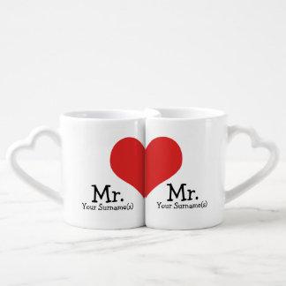 Sr. y Sr. dos boda del corazón de los novios Set De Tazas De Café