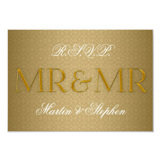 Sr. y Sr. Gay Wedding RSVP en oro Invitación 8,9 X 12,7 Cm