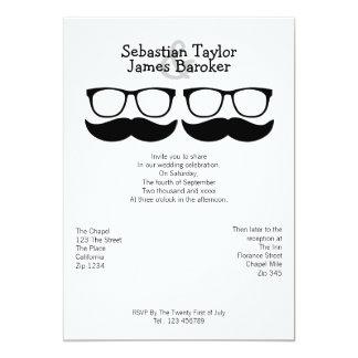 Sr. y Sr. Mustache y el casarse de los vidrios Invitación 12,7 X 17,8 Cm