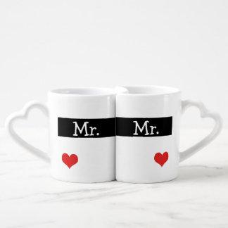 Sr. y Sr. Newly Wednesday Heart Wedding Tazas Amorosas