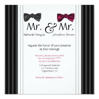 Sr. y Sr. pajaritas y boda rayado Pin invitan Invitación 13,3 Cm X 13,3cm
