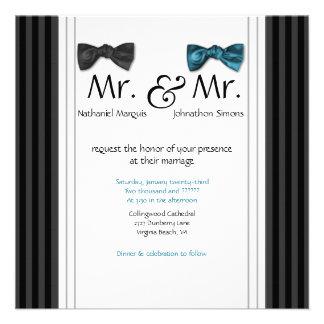 Sr y Sr pajaritas y boda rayado Pin invitan Anuncios Personalizados