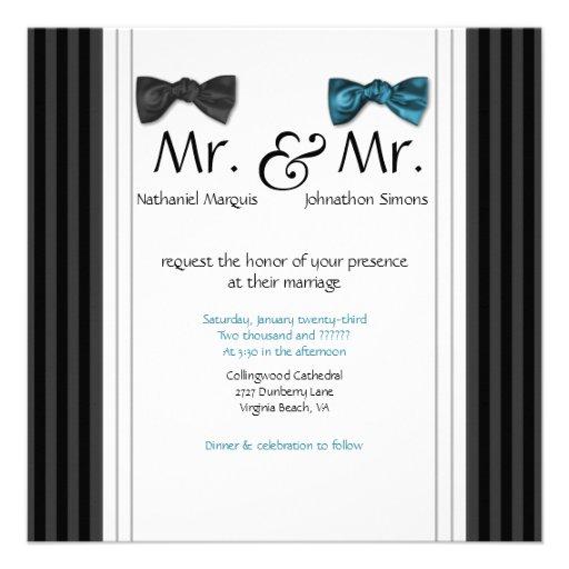 Sr. y Sr. pajaritas y boda rayado Pin invitan Anuncios Personalizados
