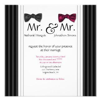 Sr y Sr pajaritas y boda rayado Pin invitan Invitacion Personalizada