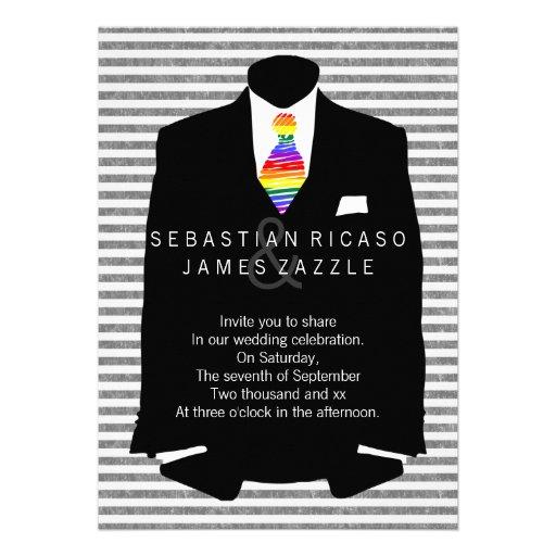 Sr. y Sr. Suit y boda gay del lazo del arco iris Invitacion Personal