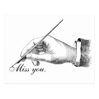 Srta. escrita mano usted postal