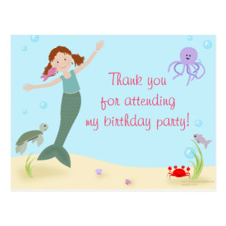 Srta. Mermaid Party Thank You Postal