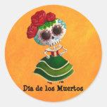 Srta. muerte de Dia de Muertos mexican Pegatina