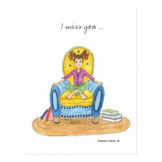 Srta. usted chica en postal azul de la silla