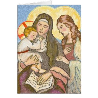 St Ann con la tarjeta de felicitación de Jesús y