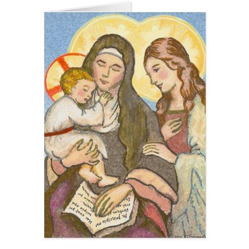 St Ann con la tarjeta de felicitación de Jesús y d