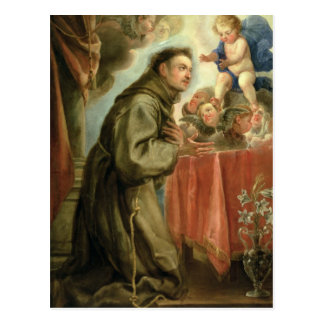 St Anthony de Padua que adora al niño de Cristo Postal