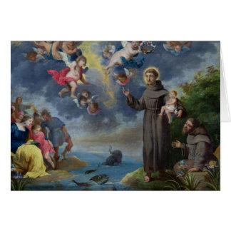 St Anthony de Padua que predica a los pescados Tarjeta De Felicitación