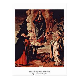 St Anthony y St. Louis de Lorenzo Lotto Postal