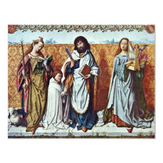 St Bartholomew y el fundador entre del santo A Invitación 10,8 X 13,9 Cm