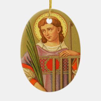 St. de doble cara Lorenzo de Roma (P.M. 04a) Adorno Navideño Ovalado De Cerámica