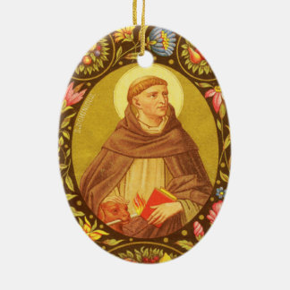 St Dominic de doble cara de Guzman (P.M. 02) Adorno Navideño Ovalado De Cerámica