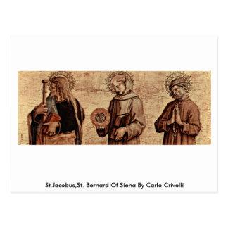 St.Jacobus, St Bernard de Siena de Carlo Crivelli Postal