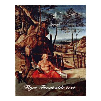 St Jerome en el desierto por la loteria Lorenzo (e Folleto 21,6 X 28 Cm