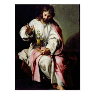 St. John el evangelista y la taza envenenada Postal