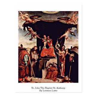 St. John el St Anthony baptista de Lorenzo Lotto Postal