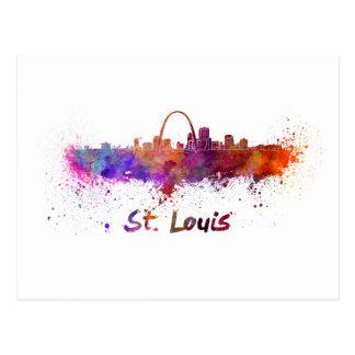 St Louis skyline in watercolor Postal