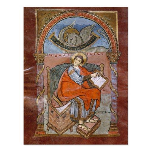 St Luke, del evangelio de St. Riquier Tarjeta Postal