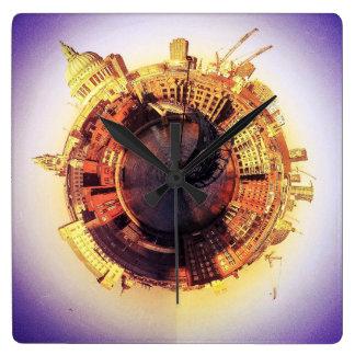 St Pauls y el puente de Milenium Reloj Cuadrado