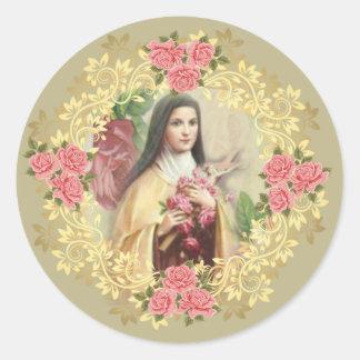 St. Teresa de Lisieux con crucifijo/el pegatina de