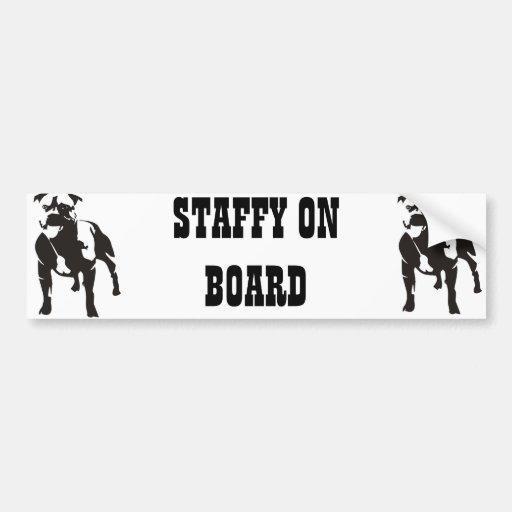 Staffy a bordo etiqueta de parachoque