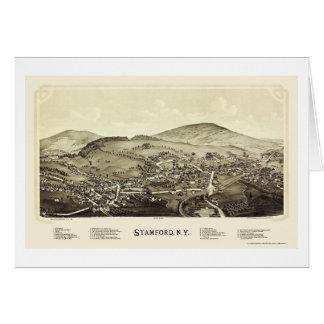 Stamford, mapa panorámico de NY - 1890 Tarjeta De Felicitación