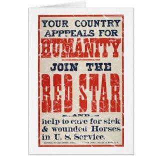 Star-1918 rojo - apenado tarjeta de felicitación