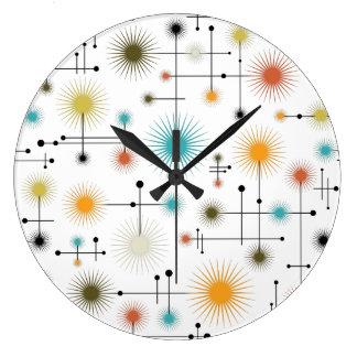 ¡Starbursts retro un Ir-Ir! Reloj Redondo Grande