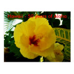 Statehood amarillo del hibisco de Hawaii Tarjeta Postal