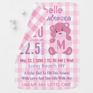 Stats rosado de encargo del nacimiento de la niña mantita para bebé