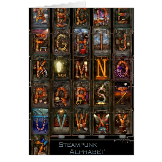 Steampunk - alfabeto - alfabeto completo tarjeta de felicitación
