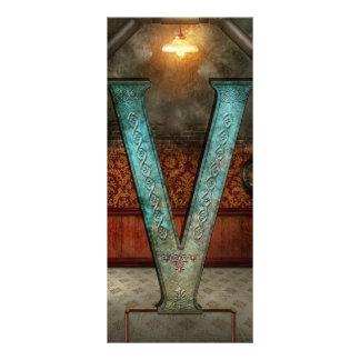 Steampunk - alfabeto - V está para el Victorian Tarjeta Publicitaria A Todo Color