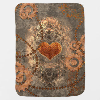Steampunk, corazón maravilloso hecho del metal mantitas para bebé