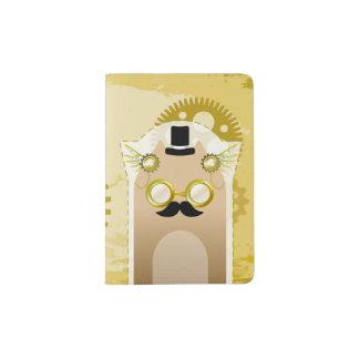 Steampunk+Tenedor del pasaporte del gato Portapasaportes