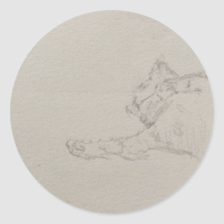 Steeker incompleto del gatito soñoliento pegatina redonda