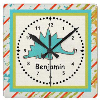 Stegosaurus del azul del reloj de pared del