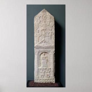 Stela votivo dedicado a Saturn Póster