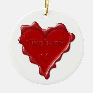 Stephanie. Sello rojo de la cera del corazón con Adorno De Cerámica
