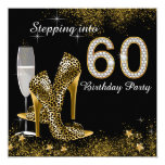 Stepping Into 60 Birthday Party Customized Announcement Card