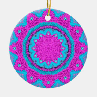 Stitchery rosado azul 1 ornamento para arbol de navidad