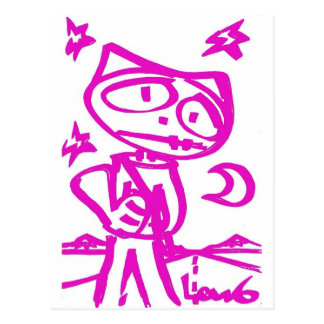 "Stitchlip ROSADO (el gato del dibujo animado) ""que Tarjetas Postales"